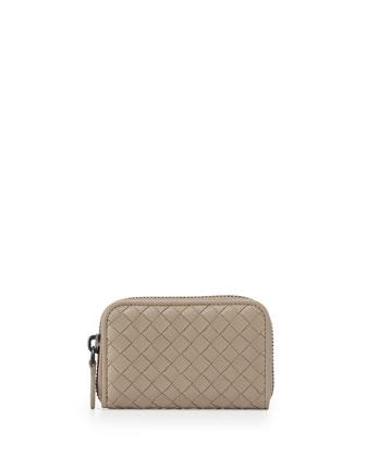 Ardoise Woven Mini Zip-Around Wallet, Parme