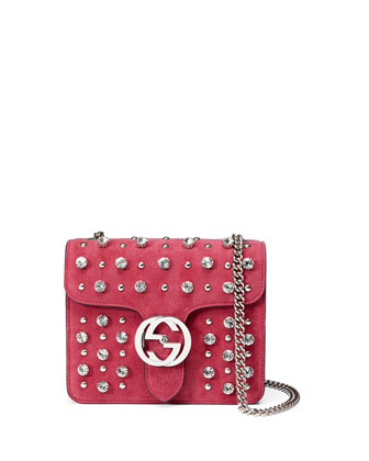 Interlocking Studded Suede Shoulder Bag, Bright Pink