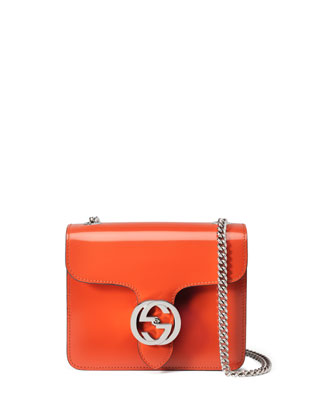 Interlocking Polished Leather Shoulder Bag, Dark Orange