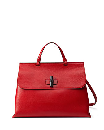 Bamboo Daily Leather Top Handle Bag, Red