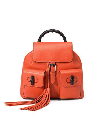Bamboo Sac Leather Backpack, New Dark Orange