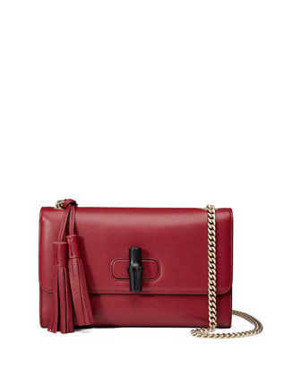 Miss Bamboo Medium Leather Shoulder Bag, Burgundy