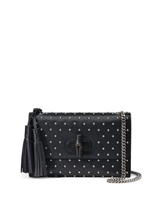 Miss Bamboo Medium Studded Leather Shoulder Bag, Black