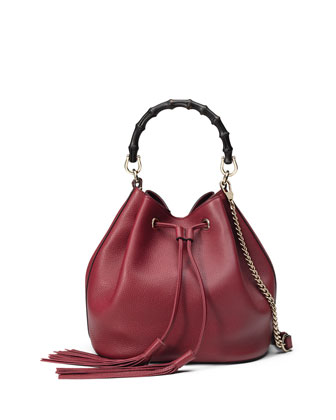 Miss Bamboo Medium Leather Bucket Bag, Burgundy