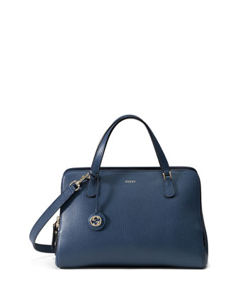 Lady Dollar Medium Top Handle Bag, Blue