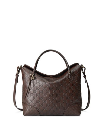 Bree Guccissima Leather Top Handle Bag, Chocolate