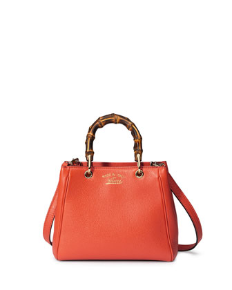 Bamboo Shopper Mini Leather Top Handle Bag, New Dark Orange