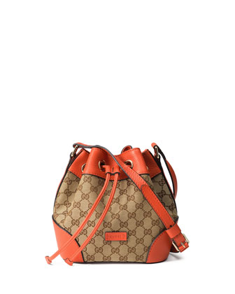 GG Classic Small Bucket Bag, Beige/Orange