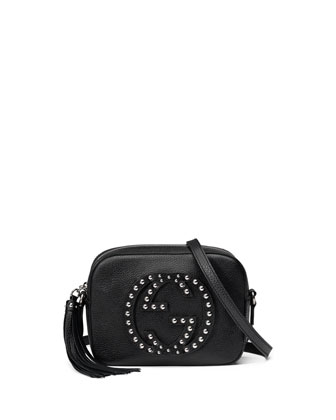 Soho Studded Leather Disco Bag, Black