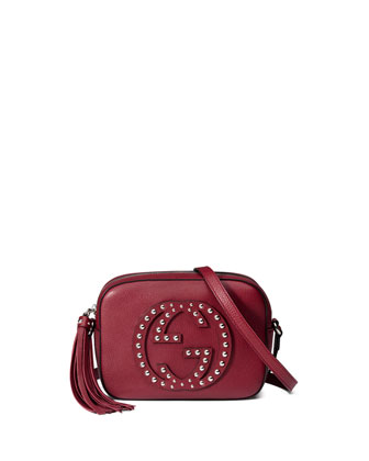 Soho Studded Leather Disco Bag, Burgundy