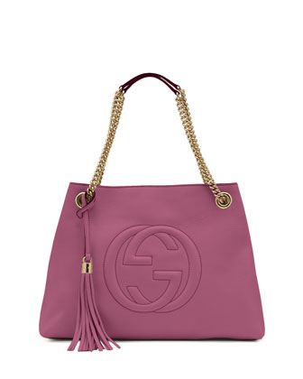 Soho Leather Medium Chain-Strap Tote Bag, Pink