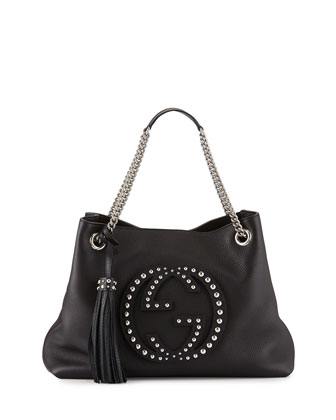Soho Chain-Strap Studded Leather Shoulder Bag, Black