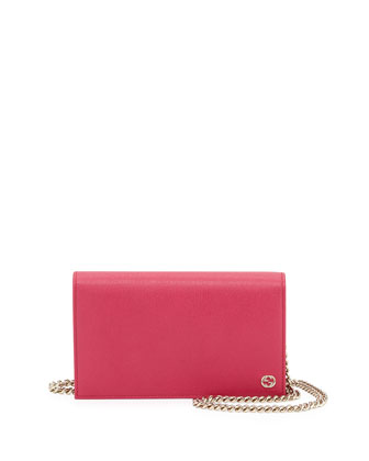 Betty Leather Chain Wallet, Hot Pink