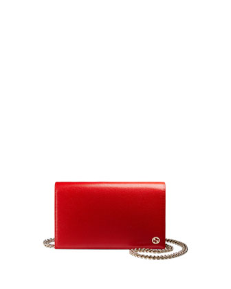 Betty Leather Chain Wallet, Red