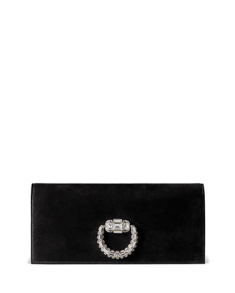 Broadway Suede Evening Clutch Bag, Black