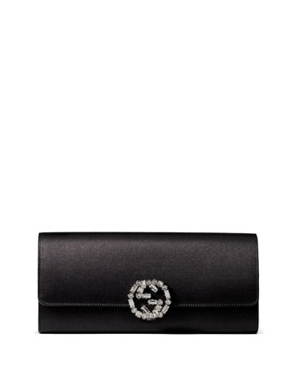 Broadway Satin Evening Clutch Bag, Black