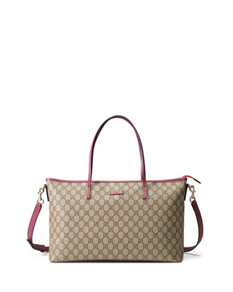 GG Supreme Canvas Medium Tote Bag, Beige/Pink