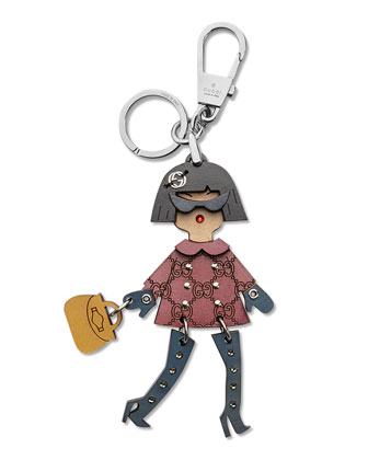 Brunette Shopper Keychain
