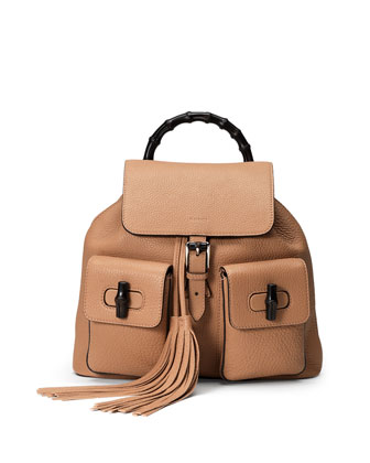 Bamboo Sac Medium Leather Backpack, Beige