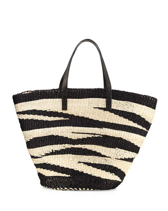 Striped Sisal Tote Bag, Black/Beige