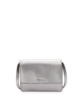 Saffiano Mini Crossbody Bag, Silver (Cromo)