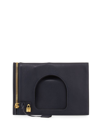 Alix Leather Padlock & Zip Shoulder Bag, Sapphire Blue