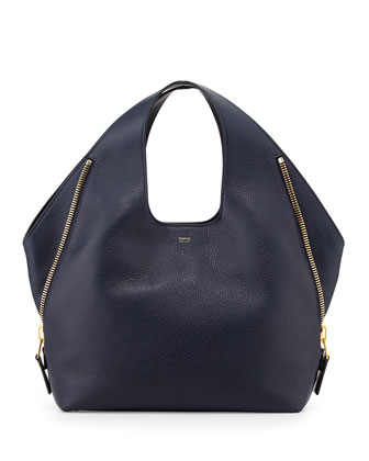 Jennifer Side-Zip Leather Hobo Bag, Navy