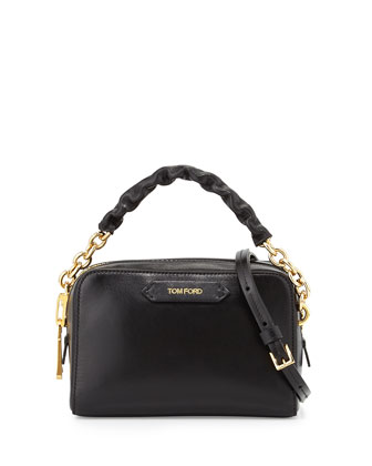 Chain-Strap Small Crossbody Bag, Black