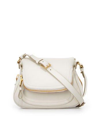 Jennifer Calfskin Crossbody Bag, White