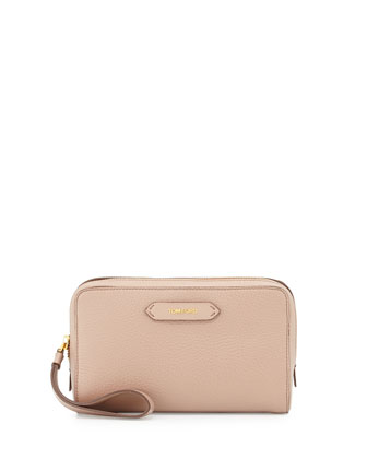 Zip-Top Calfskin Clutch Bag, Blush Nude