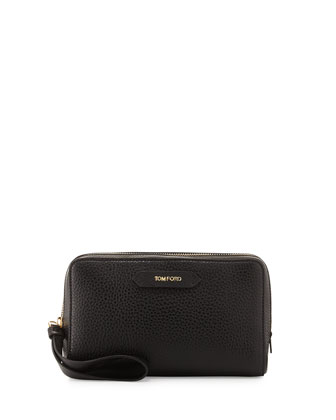 Zip-Top Calfskin Clutch Bag, Black