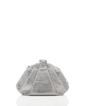 Enchanted Allover Beaded Pochette, Silver Rhine