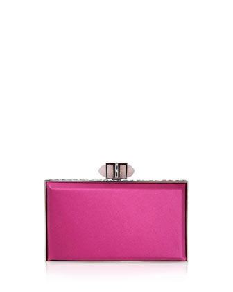 Satin Coffered Rectangle Clutch Bag, Rose