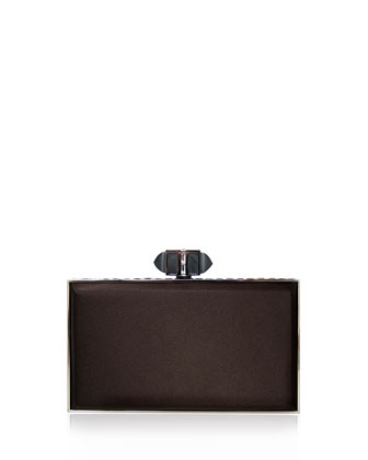 Satin Coffered Rectangle Clutch Bag, Mocha