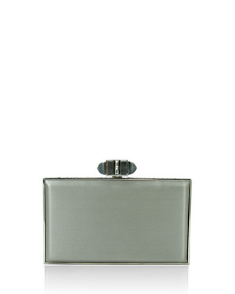 Satin Coffered Rectangle Clutch Bag, Platinum