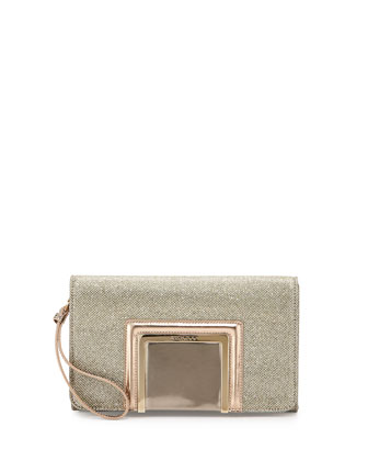 Alara Glitter Lam?? Clutch Bag, Light Bronze