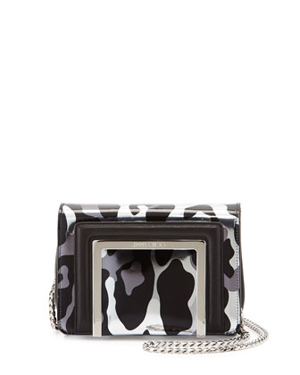 Ava Camoleo Printed Mirror Leather Crossbody Bag, Steel Mix