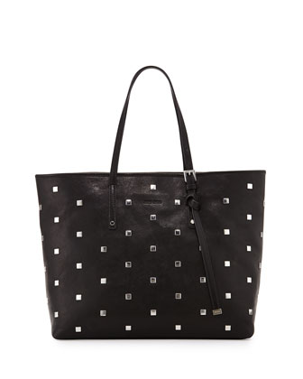 Sasha Studded Leather Tote Bag, Black