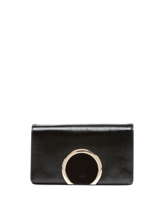 Gabrielle Patent Clutch Bag, Black