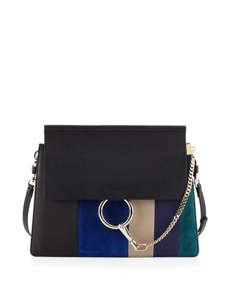 Faye Patchwork Medium Shoulder Bag, Black Multi