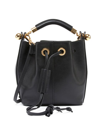 Gala Small Leather Bucket Bag, Black