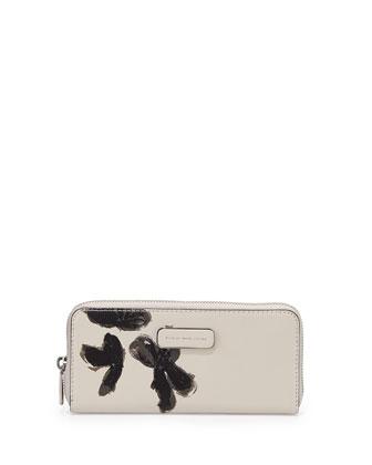 Ligero Flower Painted Zip Wallet, Tumbleweed Beige
