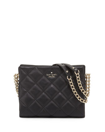 emerson place quilted leather handbag, black