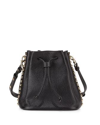 Stud-Trim Leather Bucket Bag, Black/Light Gold