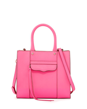 MAB Saffiano Mini Tote Bag, Electric Pink