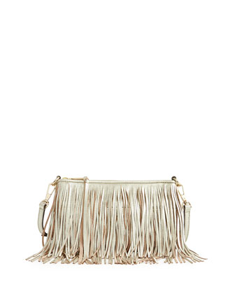 Finn Leather Fringe Crossbody Bag, Light Gold