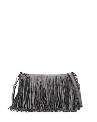 Finn Leather Fringe Crossbody Bag, Gunmetal