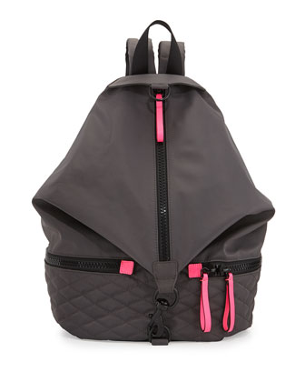 Julian Quilted Sport Backpack, Gray/Black