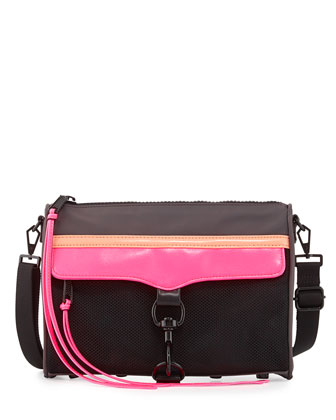 MAC Nylon Crossbody Bag, Black Multi