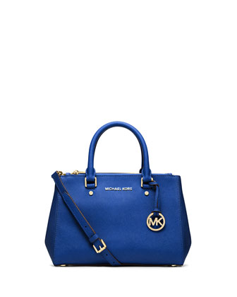 Sutton Small Saffiano Satchel Bag, Electric Blue